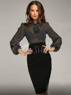черные горошек половины рукав женщин платье-футляр (плюс имеющийся размер )