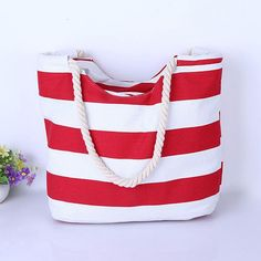 """""""Red & White Thick Striped"""" Summer Canvas Bag"""