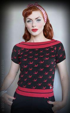 Rumble59 Ladies Pullover Swallow - Hochwertiger Strickpulli aus feiner 100% Baumwolle - Rockabilly-Rules.com - Onlineshop für Pin Up und Rockabilly Style