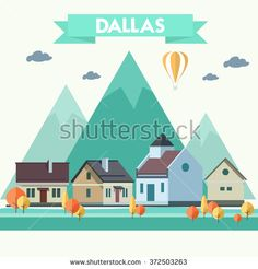 Small town urban landscape in flat design style, vector illustration. - stock vector