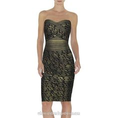 Herve Leger Sequined Strapless Bandage Dress Black Gold Evening Party Dresses.sale cheap from China, accept retail and wholesale, fast shipping worldwide