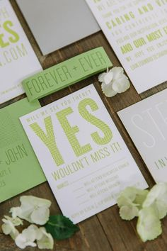 Simple Green and White Invitation