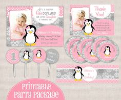 Winter ONEderland Girly Penguin Pink & Grey Printable Birthday Party Package by MonkeyDoodleParties on Etsy https://www.etsy.com/listing/112820008/winter-onederland-girly-penguin-pink