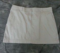 L.L. Bean A-Line skirt womens size 20P beige side front pockets casual work #LLBean #ALine