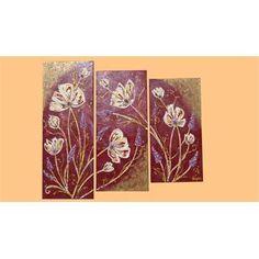 """Quadri Moderni Floreali """"Trittico fiori in rilievo"""" Tecnica mista su tela.Piccoli tocchi di luminosità, con applicazioni di flitter e glitter, sabbie e perline per rendere materico un quadro, nato con la voglia di stupire e aggraziare il vostro ambiente abitativo."""
