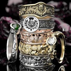 Scottish thistle wedding bands, engagement rings and fashion rings. Made in gold, silver, platinum or palladium!