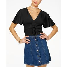 Polly & Esther Juniors' Ruched Crop Top ($8.46) ❤ liked on Polyvore featuring tops, black, shirred crop top, stretch top, low v neck tops, ruching tops and shirred top
