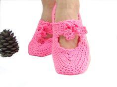 Pink Crochet slippers Women Handmade slippers by aynikki on Etsy