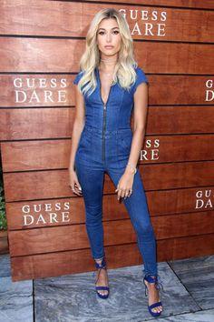 Hailey Baldwin wearing Guess Jesse Denim Jumpsuit and Stuart Weitzman Sapphire Suede Tynela Platform Sandals