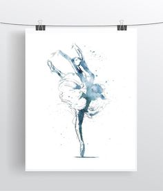 Ballerina Watercolor Art Print Ballerina Painting Home by QPrints