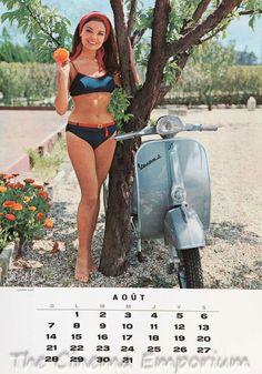 1966 Vespa calendar in french (aug) - Luciana Gilli