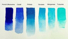 samples of French Ultramarine, Cobalt, Phthalo, Cerelean, Manganese and Turquise watercolor