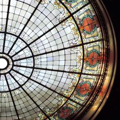 antique stained glass window skylight