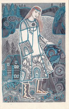 Vintage Kalevala postcards illustrations by Yufa