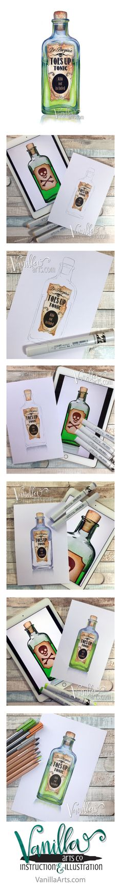 Tonic- a challenge level class for Copic colorers. Learn to color glass and transparent objects. | VanillaArts.com