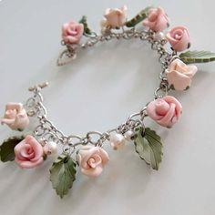 Rose Charm Bracelet  Peachy Pink  Polymer Clay by beadscraftz, $36.00
