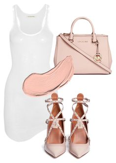 """""""Untitled #87"""" by laurenmq ❤ liked on Polyvore featuring Étoile Isabel Marant, Valentino, Michael Kors, NYX, white, Heels, dress, michaelkors and MK"""