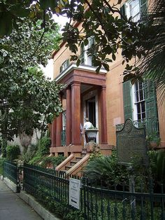 Sorrel-Weed House 1841, 6 West Harris St, Savannah. The house was built for Francis Sorrel (1793-1870), a wealthy shipping merchant. It has a reputation for being one of the most haunted buildings in Savannah. People claim to see figures in the windows and hear disembodied voices inside the house. The connecting carriage house behind the main house was said to have housed a female Afican-American slave who was murdered by a member of the family