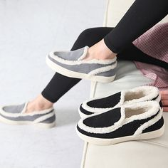 Made In Korea Women's Slip On Sneakers Casual Moccasins Style With Fur Lining #DreamTree #LoafersMoccasins #Casual