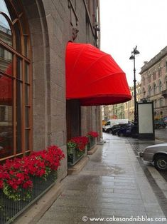 Petersburg, Russia - Lipstick red awning and flowers Awning Canopy, Canopy Outdoor, Outdoor Decor, Cafe Design, Store Design, Canvas Awnings, Metal Awning, Pergola Carport, Royal Colors