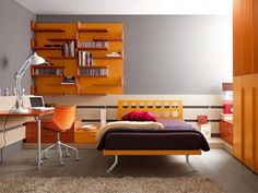 Amazing Ergonomic Furniture For Modern Teen Room By Battistella Industria Mobili : Amazing Ergonomic Furniture For Modern Teen Room By Battistella Industria Mobili With Orange Bookcase And Wooden Chair And Brown Rug Teen Room Designs, Teenage Girl Bedroom Designs, Bedroom Furniture Design, Bedroom Decor, Bedroom Ideas, Teen Bedroom, Bedrooms, Design Bedroom, Cool Beds For Teens