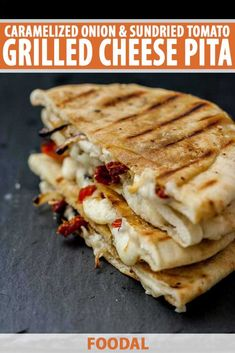 This Caramelized Onion & Sundried Tomato Grilled Cheese Pita is an easy weekend lunch for the days you want to be a bit more decadent… and grown up. Grilled cheese for mature people. Pita Recipes, Sandwich Recipes, Vegetarian Recipes, Cooking Recipes, Sandwich Ideas, Pita Bread Sandwich, Pita Sandwiches, Making Grilled Cheese, Grilled Cheese Recipes