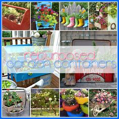 The Cottage Market: Repurposed Garden Containers Tons of Great ideas for plants and flowers! Outdoor Projects, Garden Projects, Garden Ideas, Garden Crafts, Container Plants, Container Gardening, Gardening Tips, Outdoor Plants, Outdoor Gardens