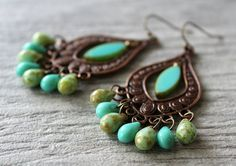 Green Turquoise Picasso Glass Chandelier Earrings by SoleilGypsy