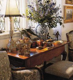 Totally awesome arrangement.....love all of it and still as beautiful today as it was ten years ago! (Charles Faudree. Traditional Home May 2003)