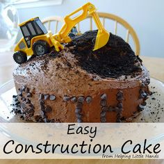 Boy Birthday cake with a car, construction, transportation theme.