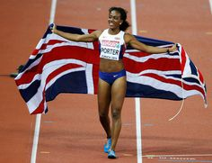 Tiffany Porter Tiffany Porter of Great Britain and Northern Ireland poses with a Union Jack as she celebrates winning gold in the women's 100m hurdles final during day two of the 22nd European Athletics Championships at Stadium Letzigrund on August 13, 2014 in Zurich, Switzerland.