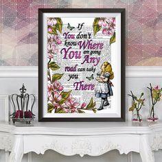 Alice in Wonderland wall art, dictionary book artwork Poster, Lewis Carroll quote, Original illustration