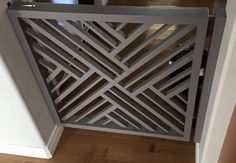 Bringing wood back to baby gates…. Time to ditch the traditional plastic baby gate! Tree of Life Furniture designed this contemporary wooden gate with a beautiful geometric pattern. It's custom painted and wall mounted with a flush mount barrel bolt styl (Geometric Furniture Designs)