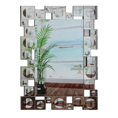 """30 in. x 40 in. Rectangular Beveled Frameless Wall Mirror w/ Retro Modern """"Squares and Convex Circles"""" Silver Border"""