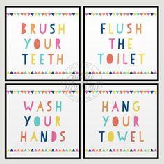 Kids Bathroom Printables, Kids Bathroom Signs, Kids Bathroom Wall Art, Kids Bathroom Wall Decor, Wash Your Hands, Set of 4 Prints, Print Set
