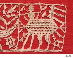 Lace panel, Punto in aria lace, needle made, linen, maker unknown, [Adriatic region], early 1600s - Powerhouse Museum Collection