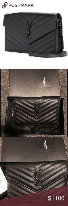Saint Laurent Monogram Shoulder Bag Black on black, authentic, gently worn. Photo 2 shows slight chip on logo. Saint Laurent Bags Crossbody Bags