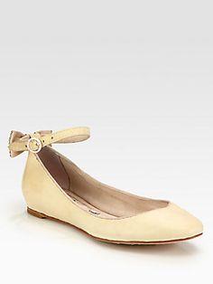Alice + Olivia Dakota Embellished Distressed Leather Ballet Flats