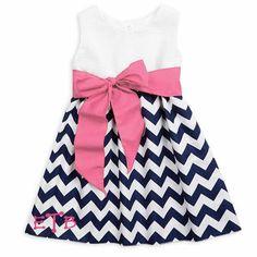 Girls White Seersucker Navy Chevron Sash Ava Dress