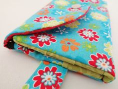 Woman floral teal and coral wristlet flower by stitchinghook