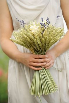 cream rose and lavender wheat sheaf bouquet from Shropshire Petals