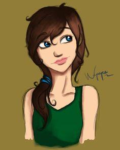 Practice.. Girl, brown hair, blue eyes, digital art, drawing