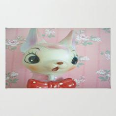 Pink bow tie deer Area & Throw Rug by Vintage  Cuteness - $28.00  #vintage #shabby #rose #pink #deer #doe #fawn #bambi #kitsch #home #decor #pretty #nursery #girl #rug