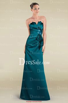 Attractive Notched Neckline Column Bridesmaid Dress with Pleats and Bowtie