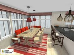 Are you an design professional? Help YOUR clients visualize the perfect, cozy eat-in kitchen with RoomSketcherPro! http://www.roomsketcher.com/interiordesign-en001/ #interiordesign #onlineinteriordesign #interiordecorating #Kitchen