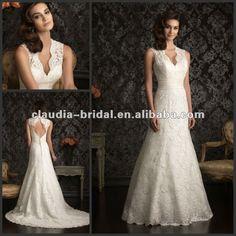 AA9013 Charming Sleeveless High Neckline Lace Keyhole Back Wedding Dress