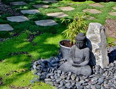 beauteous japanese zen garden ideas with buddha statue and stone decoration and rectangular stone path