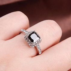 Woman Lady Retro Style Square Black Zircon Full Crystal Ring Jewelry - Jewelry For Her