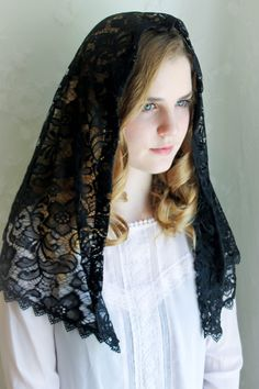 For your consideration, one new Chapel Veil or Mantilla, D-shape, measuring approx. 44X 21 inches (111 cm x 53 cm) , in beautiful black Madeira lace,  and trimmed in black Venise lace. This is a soft lace with slight stretch, not stiff at all. Isn't this lovely ? Quality made in the USA.  Also