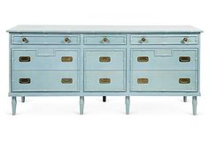 Vintage long dresser in original aqua finish with nine drawers and Ming style brass hardware.  By Thomasville $925 - Hold